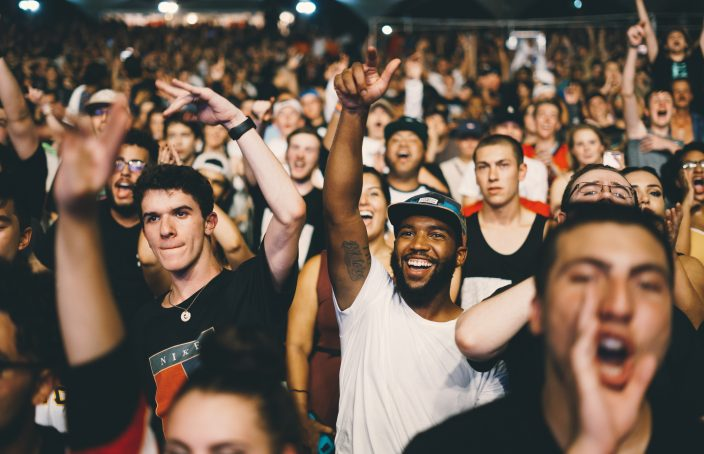 Crowd of men at a show