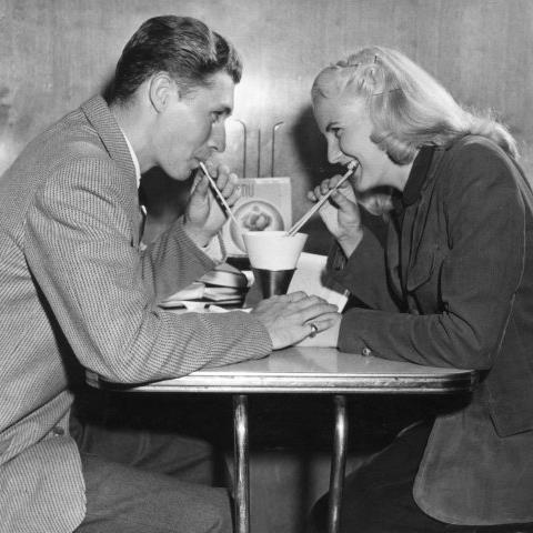 couple at a malt shop